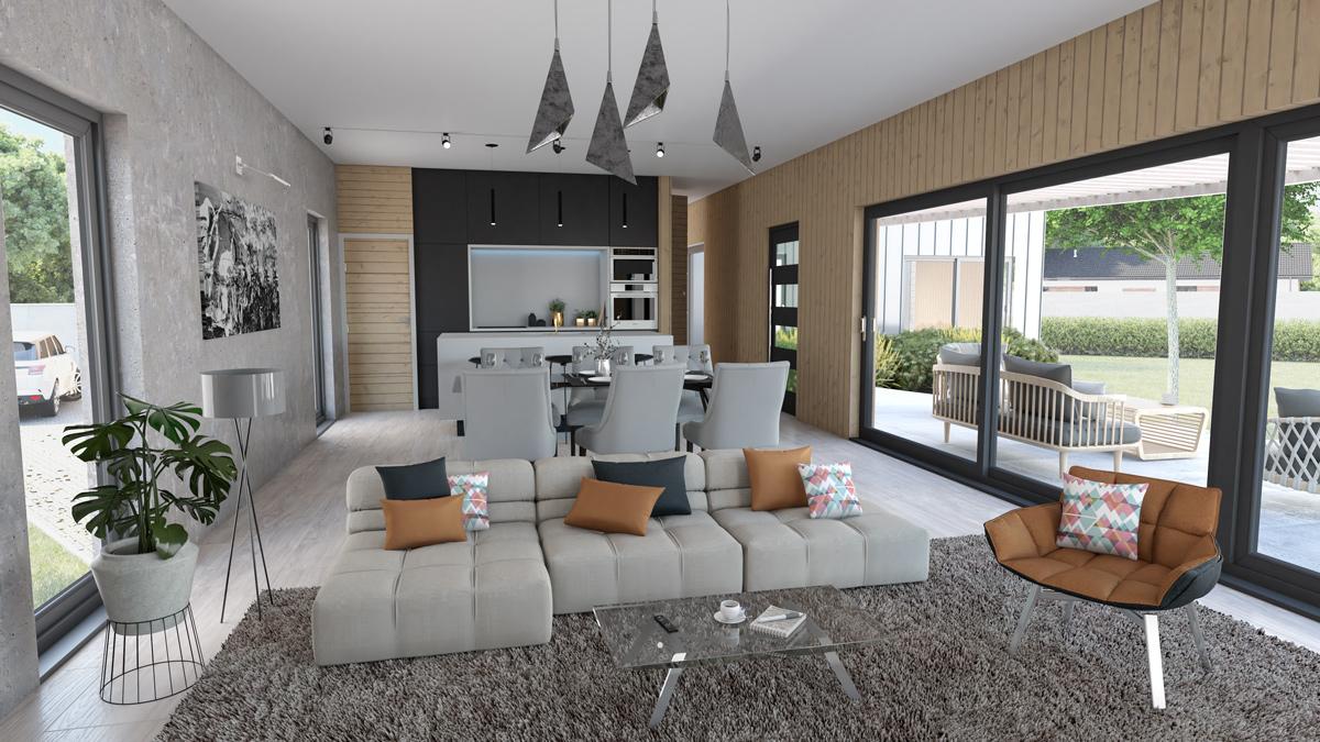 modulový dom Timberhouse interiér -T_vizualizacia