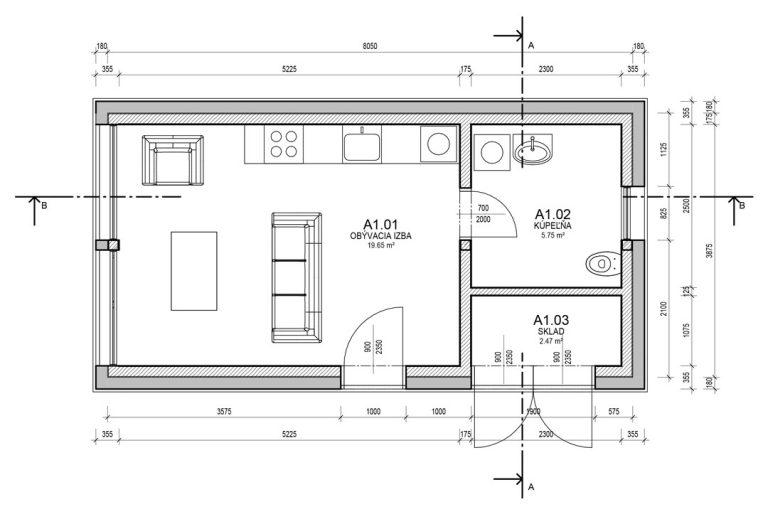 Timberhouse podorys modul S